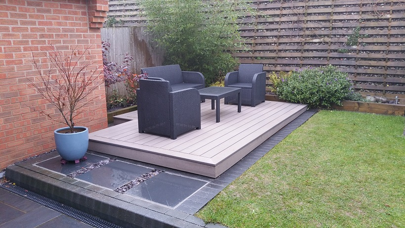 Timbertech projects garden transformation for Decking at end of garden