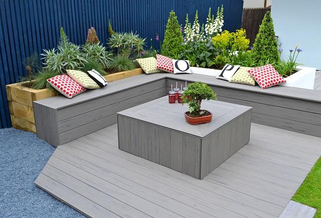Love your garden timbertech decking appears on itv for Grey decking garden ideas