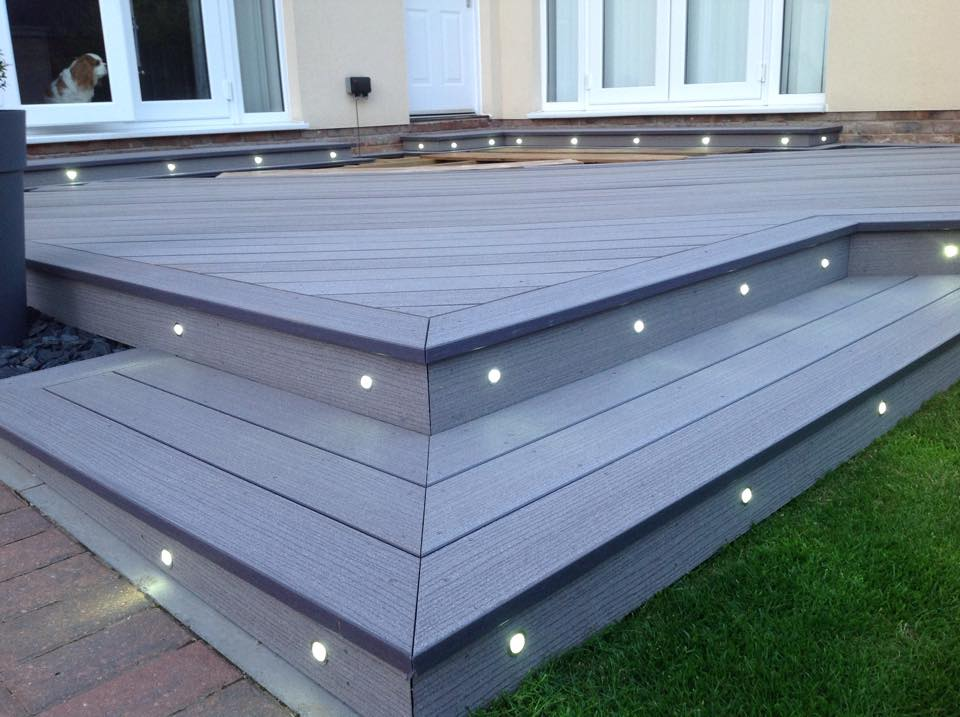 Slate Composite Decking With Built In Lights