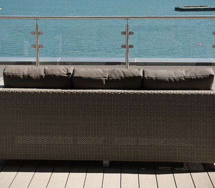 Balcony decking with a sea view