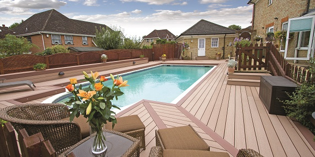 Decked pool area in Buckinghamshire