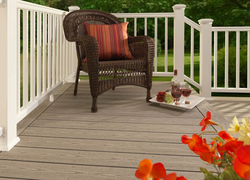 Grey composite decking in Spring