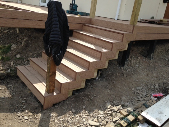 Raised decking steps