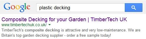 Plastic decking Google result