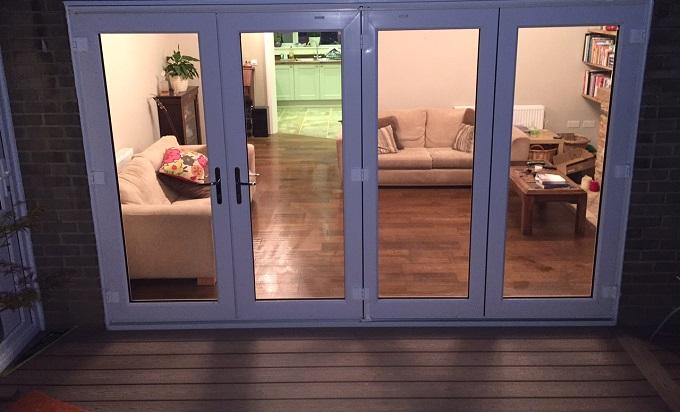 Composite decking with bi-fold doors