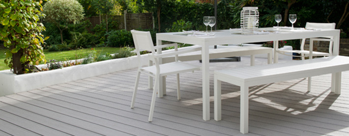 Garden deck with dining set
