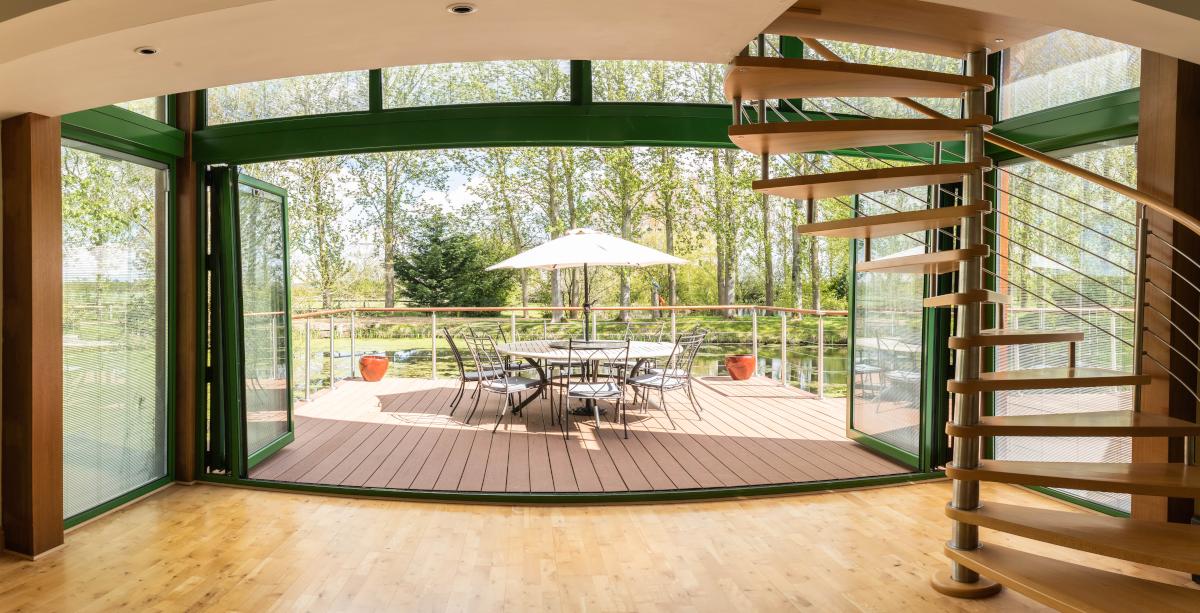Doors opening onto outdoor deck