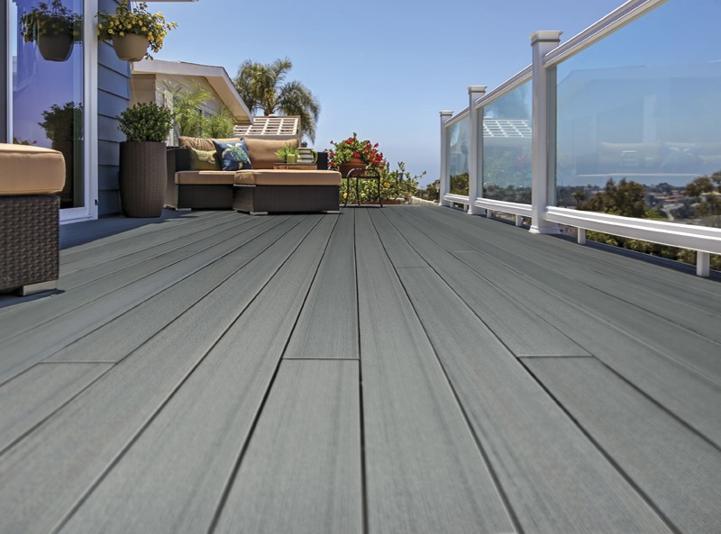 Contemporary grey composite decking