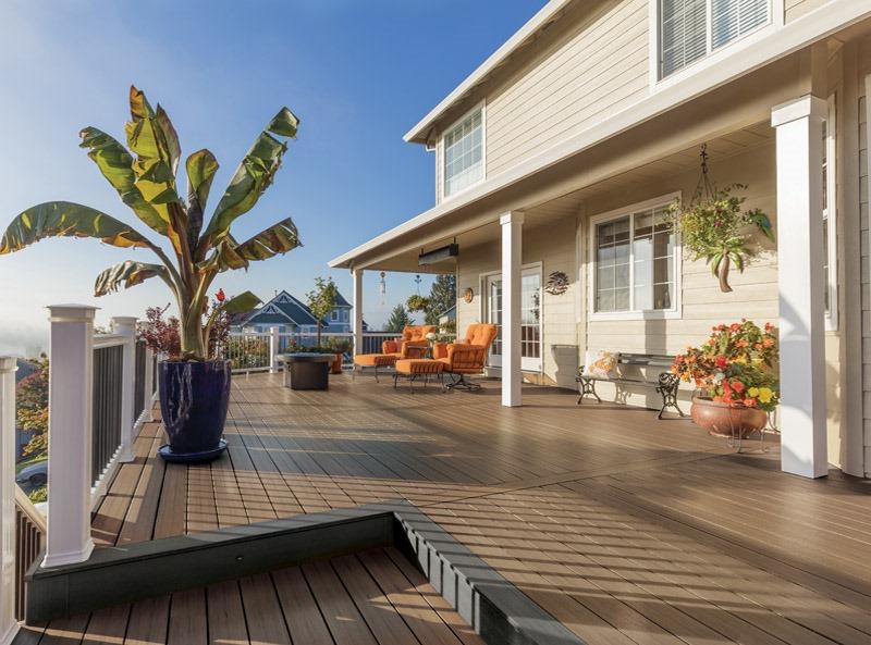 Oak effect contemporary composite decking