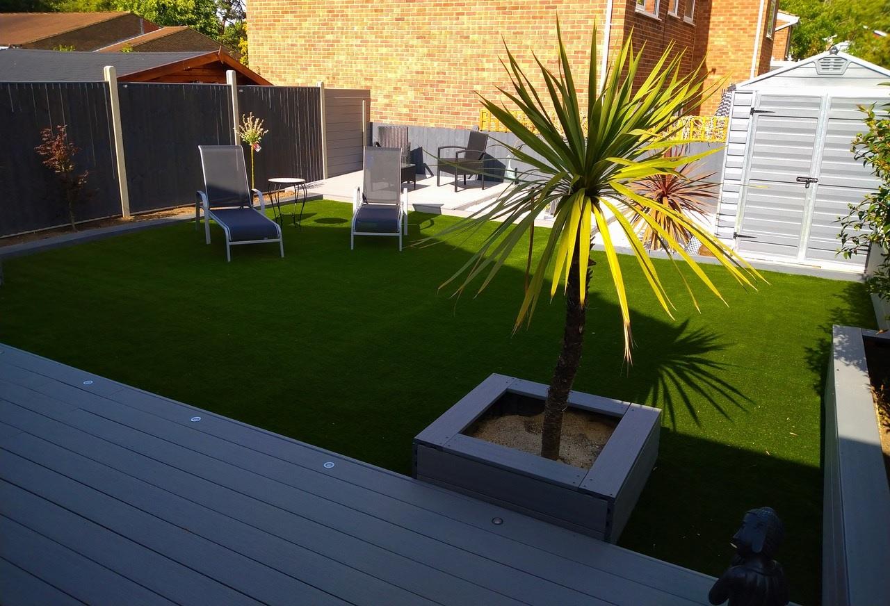Transformed garden with decking