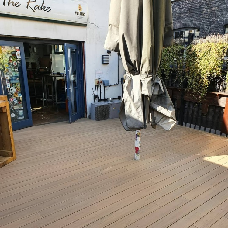 Outdoor decking for a bar in London